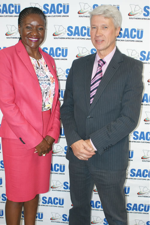 Southern African Customs Union, Executive Secretary Paulina Elago and Minister Counsellor Alexey Saltykov of the Russian Embassy in Namibia